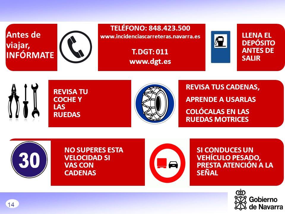 TELÉFONO: 848.423.500 www.incidenciascarreteras.navarra.es T.DGT: 011 www.dgt.es LLENA EL DEPÓSITO ANTES DE SALIR REVISA TUS CADENAS, APRENDE A USARLA