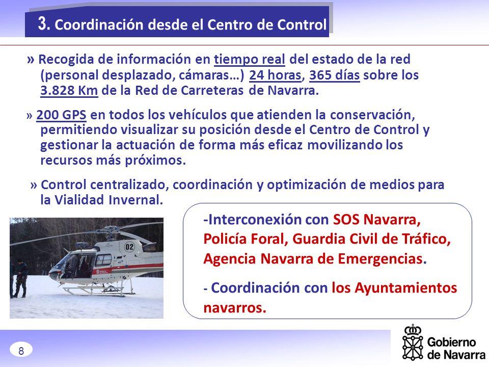 Coordinación con el Consejo General de los Pirineos Atlánticos: -NA-137 (Burgui-Isaba-Belagua) Coordinación con Álava y Guipúzcoa: -Autovía de Leitzaran A-15 -Autovía del Norte A-1 Coordinación con las concesionarias de la A12 (Autovía del Camino de Santiago), A21 (Autovía del Pirineo) y AP15 (Autopista de Navarra) 3.Coordinación desde el Centro de Control 9
