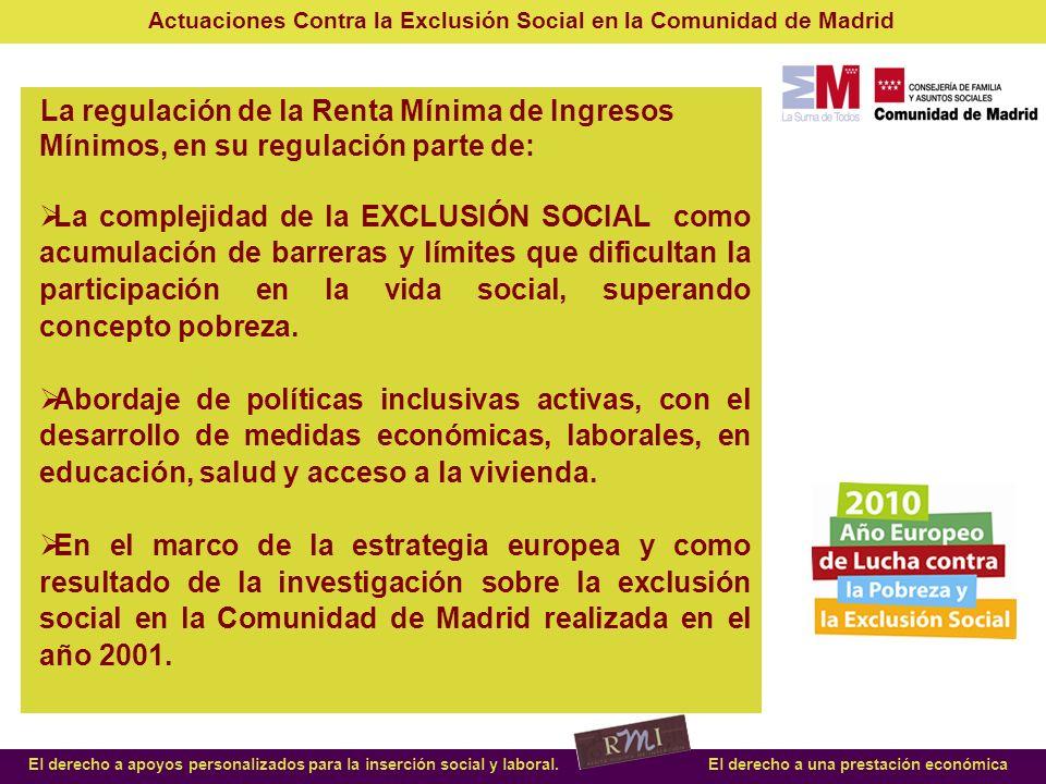 Actuaciones Contra la Exclusión Social en la Comunidad de Madrid El derecho a apoyos personalizados para la inserción social y laboral.El derecho a una prestación económica Concesión directa y en cuantía máxima desde año 2002 de AYUDA DE COMEDOR ESCOLAR a perceptores prestación RMI.