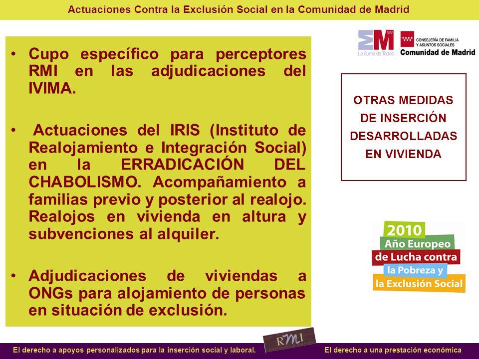 Actuaciones Contra la Exclusión Social en la Comunidad de Madrid El derecho a apoyos personalizados para la inserción social y laboral.El derecho a un