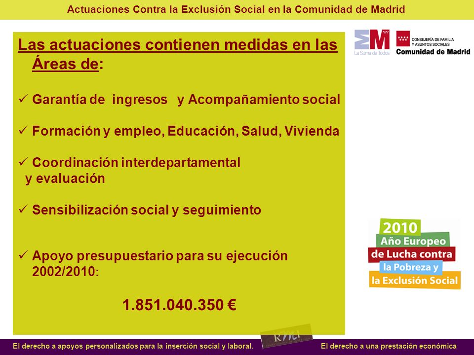 Actuaciones Contra la Exclusión Social en la Comunidad de Madrid El derecho a apoyos personalizados para la inserción social y laboral.El derecho a una prestación económica Nuevas actuaciones año 2010: Orden 119/2010, de 8 de febrero por la que se establece el procedimiento para el reconocimiento de los programas de inclusión social regulados en el artículo 6.1.b) de la Ley 15/2001, de 27 de diciembre, de Renta Mínima de Inserción.