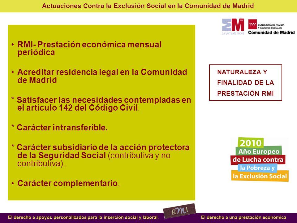 Actuaciones Contra la Exclusión Social en la Comunidad de Madrid El derecho a apoyos personalizados para la inserción social y laboral.El derecho a una prestación económica Incremento de demanda de un 126% 2009/08, frente a un 9,75% 2008/2007.
