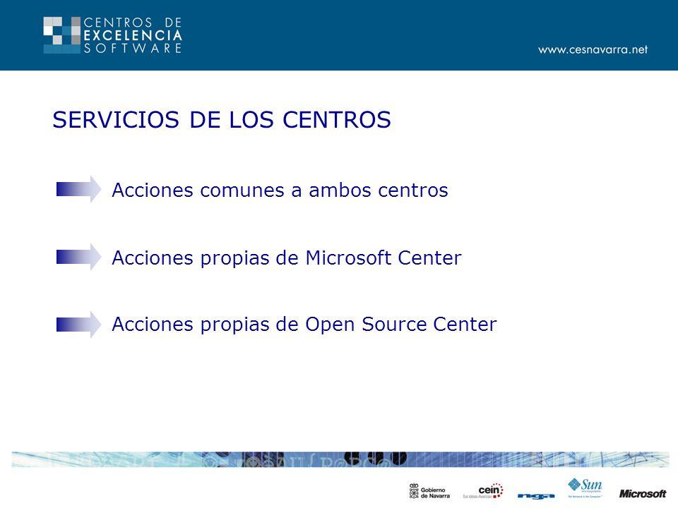 SERVICIOS DE LOS CENTROS Acciones comunes a ambos centros Acciones propias de Microsoft Center Acciones propias de Open Source Center