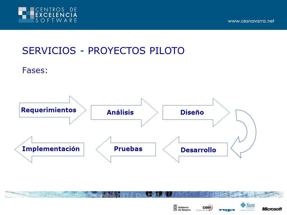 SERVICIOS - PROYECTOS PILOTO Fases: Requerimientos AnálisisDiseño ImplementaciónPruebas Desarrollo