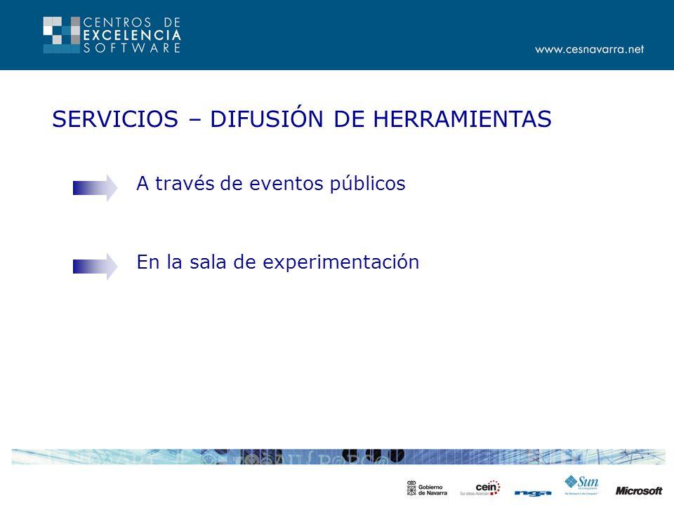 SERVICIOS – DIFUSIÓN DE HERRAMIENTAS A través de eventos públicos En la sala de experimentación