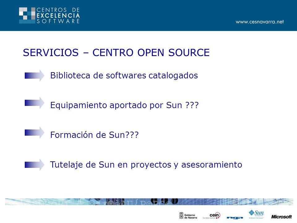 SERVICIOS – CENTRO OPEN SOURCE Biblioteca de softwares catalogados Equipamiento aportado por Sun .
