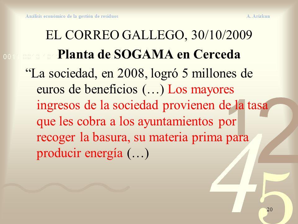 20 Análisis económico de la gestión de residuos A. Arizkun EL CORREO GALLEGO, 30/10/2009 Planta de SOGAMA en Cerceda La sociedad, en 2008, logró 5 mil