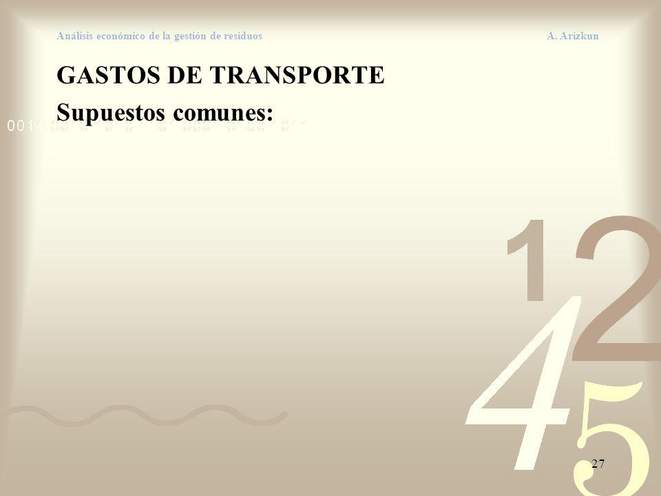 27 Análisis económico de la gestión de residuos A. Arizkun GASTOS DE TRANSPORTE Supuestos comunes: