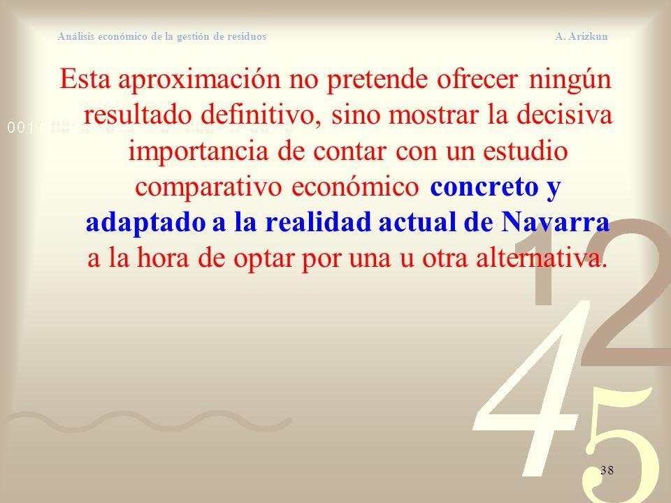 38 Análisis económico de la gestión de residuos A. Arizkun Esta aproximación no pretende ofrecer ningún resultado definitivo, sino mostrar la decisiva