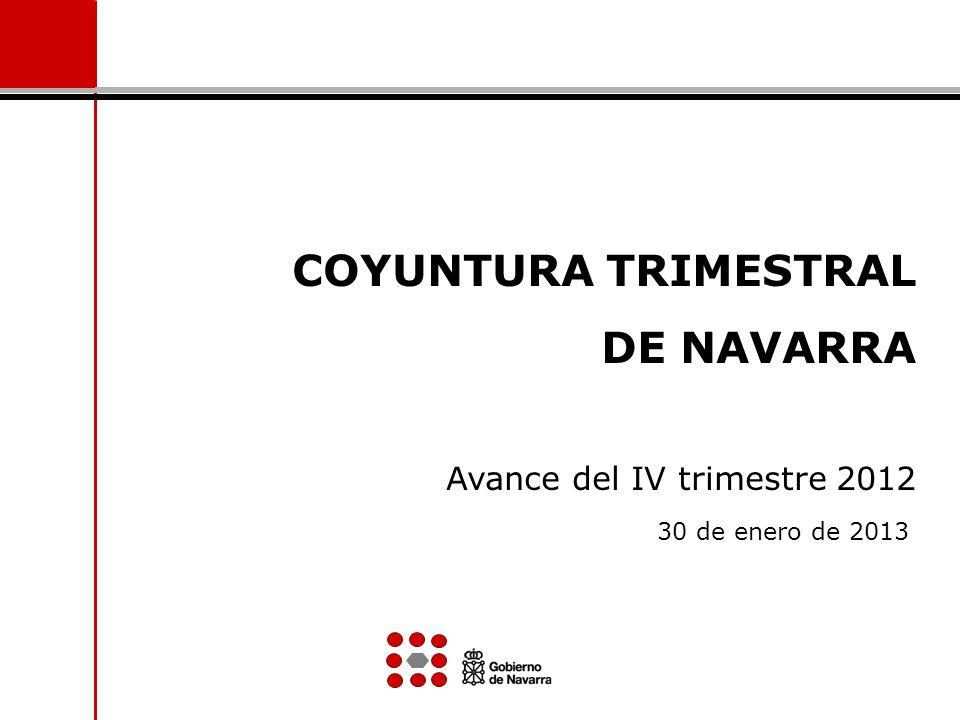 COYUNTURA TRIMESTRAL DE NAVARRA Avance del IV trimestre 2012 30 de enero de 2013