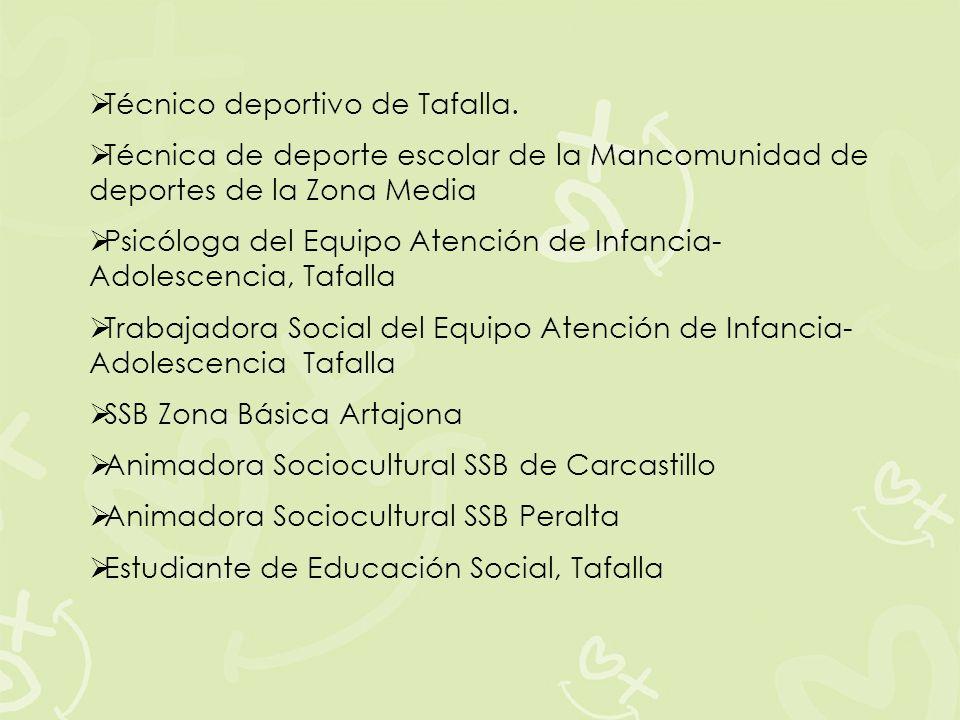 Técnico deportivo de Tafalla. Técnica de deporte escolar de la Mancomunidad de deportes de la Zona Media Psicóloga del Equipo Atención de Infancia- Ad