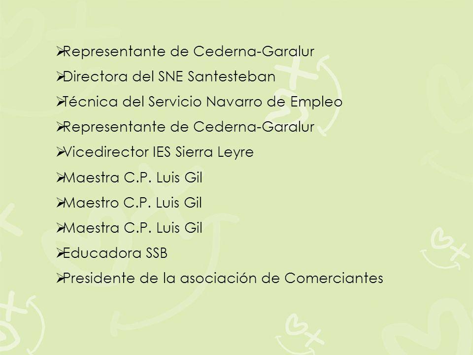 Representante de Cederna-Garalur Directora del SNE Santesteban Técnica del Servicio Navarro de Empleo Representante de Cederna-Garalur Vicedirector IE