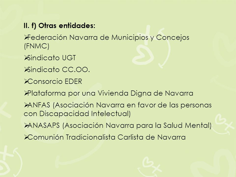 II. f) Otras entidades: Federación Navarra de Municipios y Concejos (FNMC) Sindicato UGT Sindicato CC.OO. Consorcio EDER Plataforma por una Vivienda D