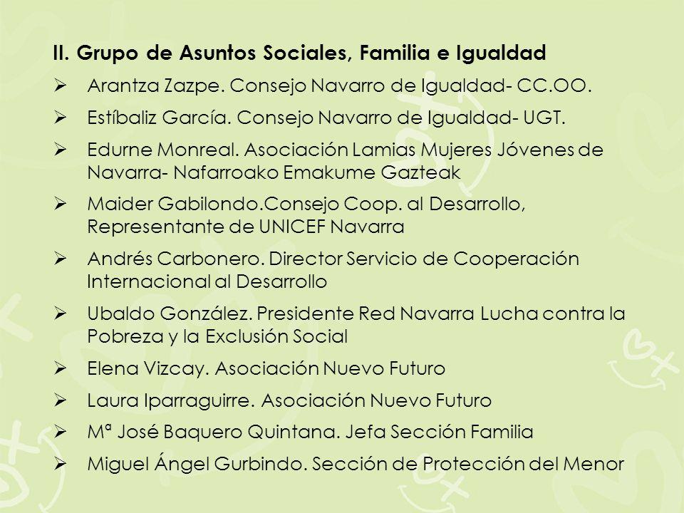 II. Grupo de Asuntos Sociales, Familia e Igualdad Arantza Zazpe. Consejo Navarro de Igualdad- CC.OO. Estíbaliz García. Consejo Navarro de Igualdad- UG