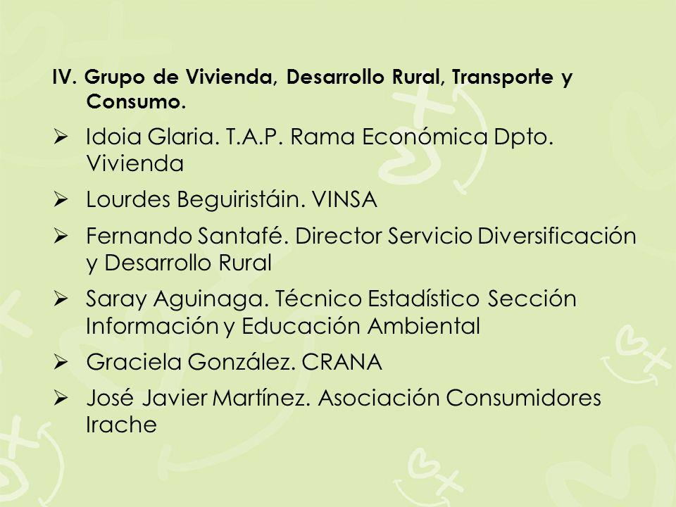 IV. Grupo de Vivienda, Desarrollo Rural, Transporte y Consumo. Idoia Glaria. T.A.P. Rama Económica Dpto. Vivienda Lourdes Beguiristáin. VINSA Fernando