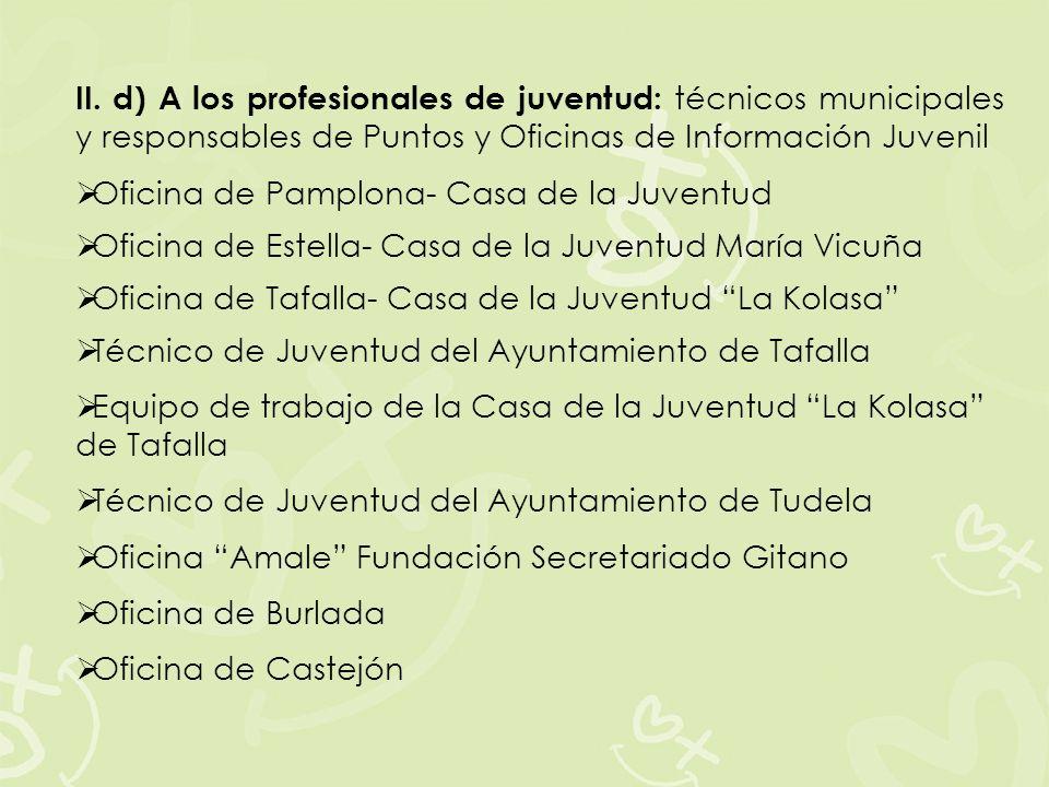 II. d) A los profesionales de juventud: técnicos municipales y responsables de Puntos y Oficinas de Información Juvenil Oficina de Pamplona- Casa de l