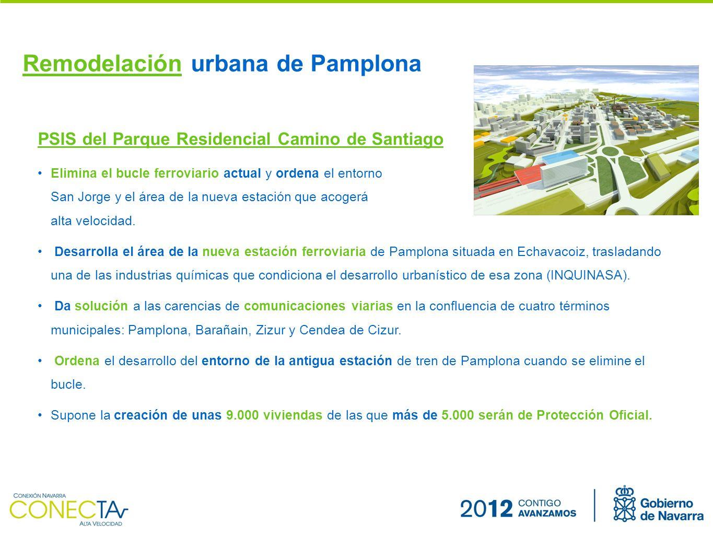 Remodelación urbana de Pamplona PSIS del Parque Residencial Camino de Santiago Elimina el bucle ferroviario actual y ordena el entorno de San Jorge y el área de la nueva estación que acogerá el tren de alta velocidad.