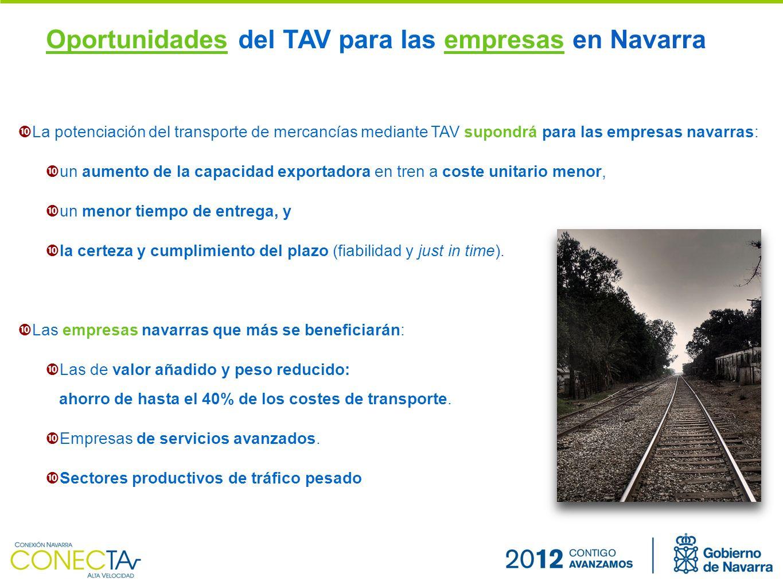 La potenciación del transporte de mercancías mediante TAV supondrá para las empresas navarras: un aumento de la capacidad exportadora en tren a coste unitario menor, un menor tiempo de entrega, y la certeza y cumplimiento del plazo (fiabilidad y just in time).
