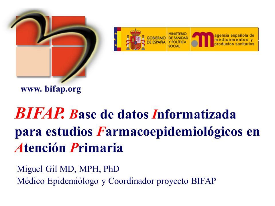 BIFAP. Base de datos Informatizada para estudios Farmacoepidemiológicos en Atención Primaria Miguel Gil MD, MPH, PhD Médico Epidemiólogo y Coordinador