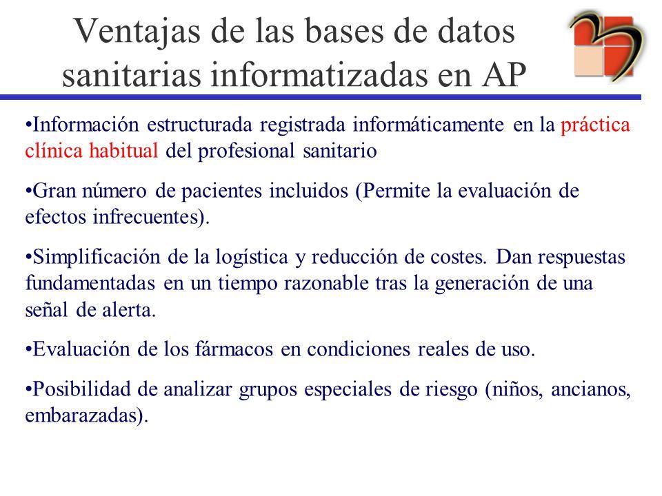 Información estructurada registrada informáticamente en la práctica clínica habitual del profesional sanitario Gran número de pacientes incluidos (Per
