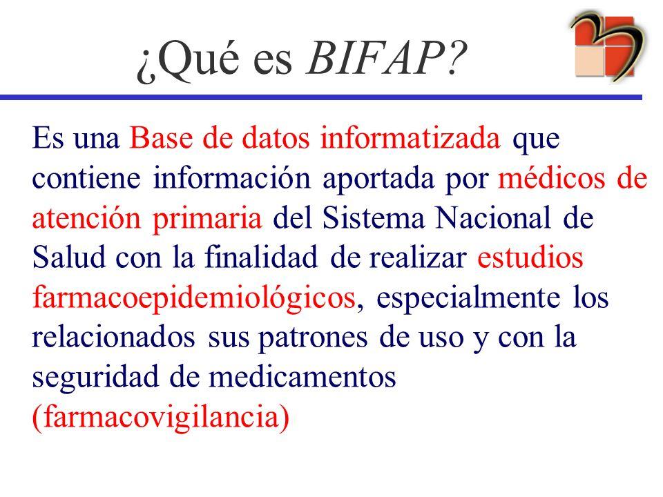 ¿Qué es BIFAP? Es una Base de datos informatizada que contiene información aportada por médicos de atención primaria del Sistema Nacional de Salud con