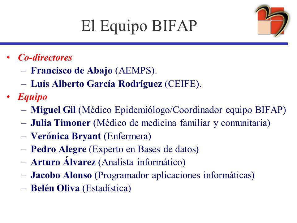 El Equipo BIFAP Co-directores –Francisco de Abajo (AEMPS). –Luis Alberto García Rodríguez (CEIFE). Equipo –Miguel Gil (Médico Epidemiólogo/Coordinador