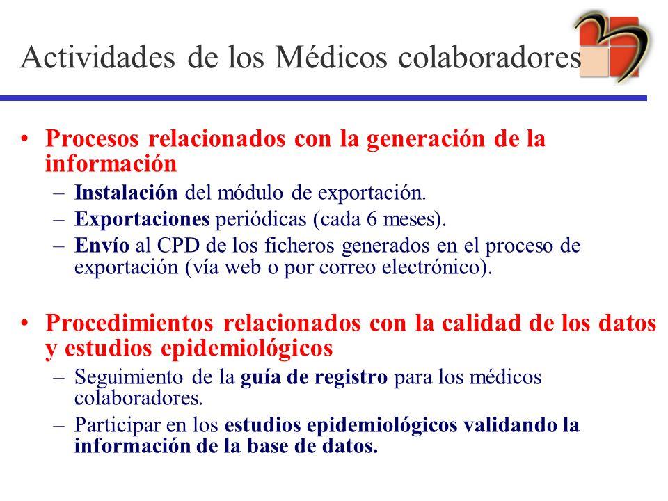 Actividades de los Médicos colaboradores Procesos relacionados con la generación de la información –Instalación del módulo de exportación. –Exportacio