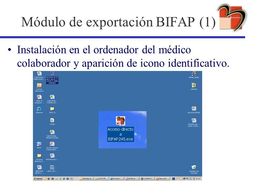 Módulo de exportación BIFAP (1) Instalación en el ordenador del médico colaborador y aparición de icono identificativo.