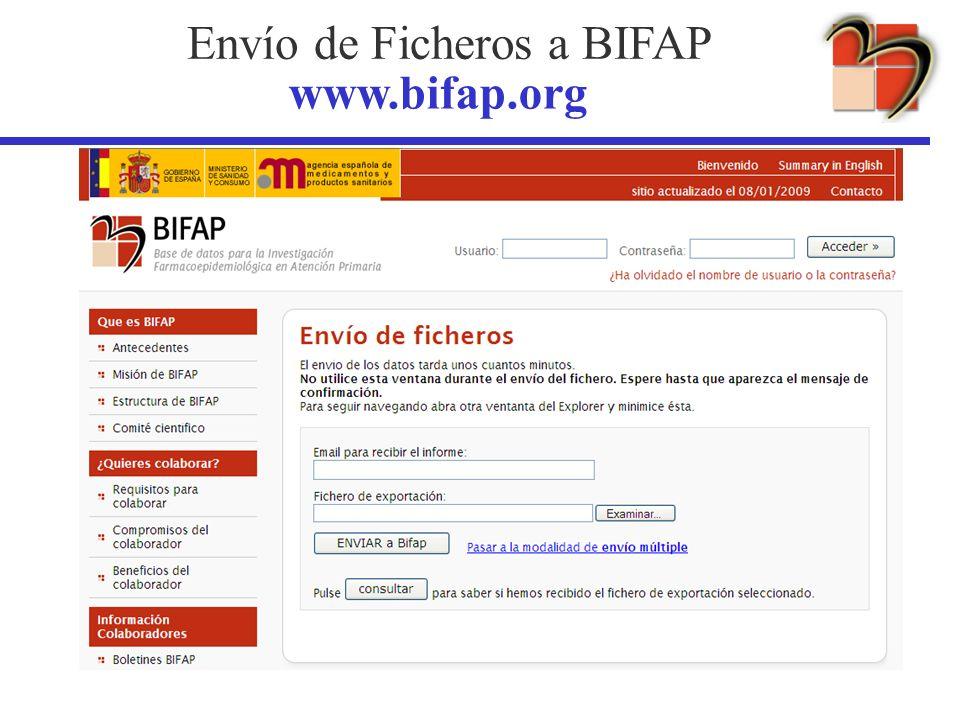 Envío de Ficheros a BIFAP www.bifap.org