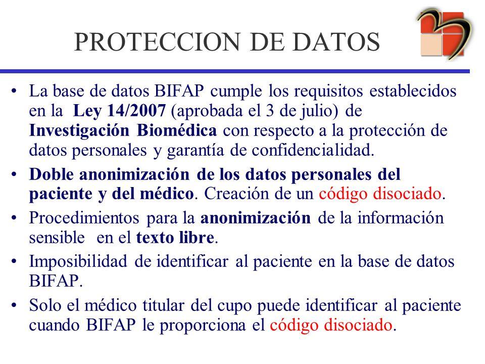 PROTECCION DE DATOS La base de datos BIFAP cumple los requisitos establecidos en la Ley 14/2007 (aprobada el 3 de julio) de Investigación Biomédica co