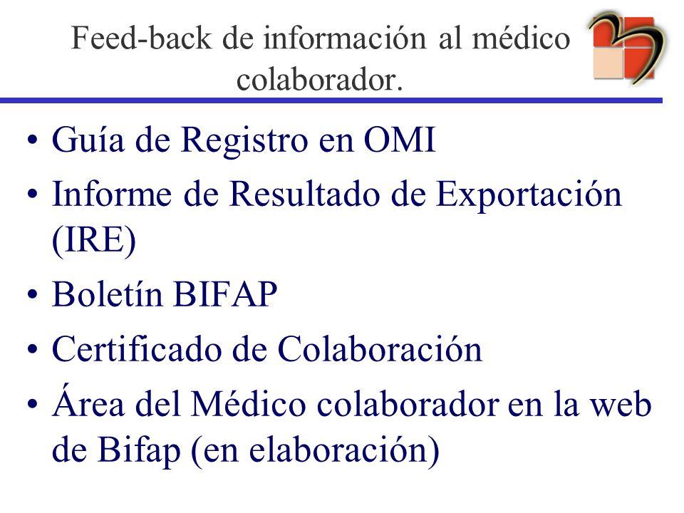Feed-back de información al médico colaborador. Guía de Registro en OMI Informe de Resultado de Exportación (IRE) Boletín BIFAP Certificado de Colabor