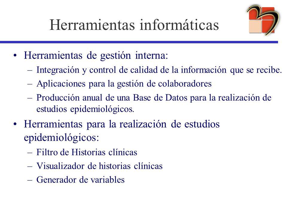 Herramientas informáticas Herramientas de gestión interna: –Integración y control de calidad de la información que se recibe. –Aplicaciones para la ge