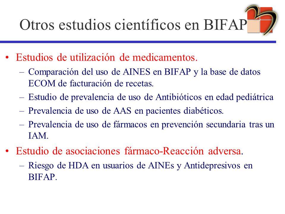 Otros estudios científicos en BIFAP Estudios de utilización de medicamentos. –Comparación del uso de AINES en BIFAP y la base de datos ECOM de factura