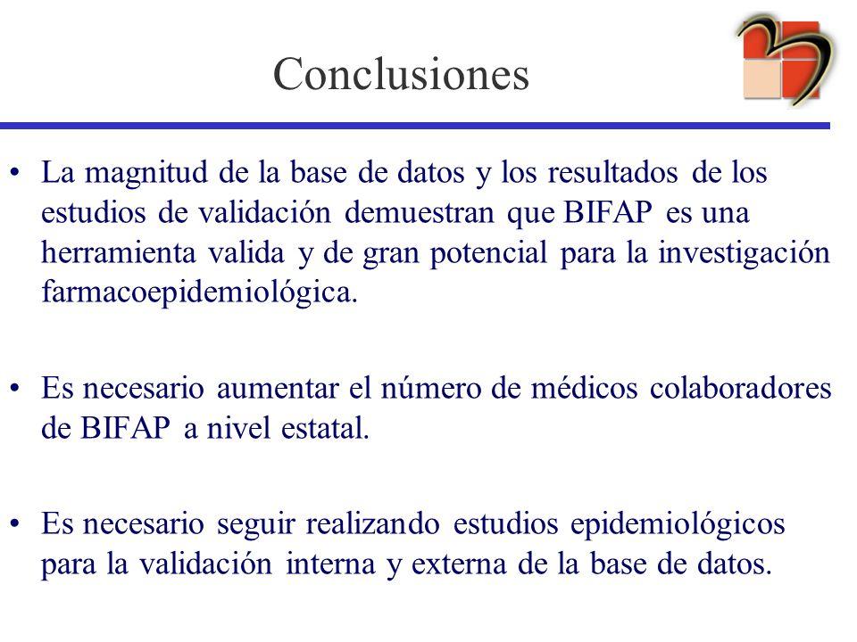 Conclusiones La magnitud de la base de datos y los resultados de los estudios de validación demuestran que BIFAP es una herramienta valida y de gran p
