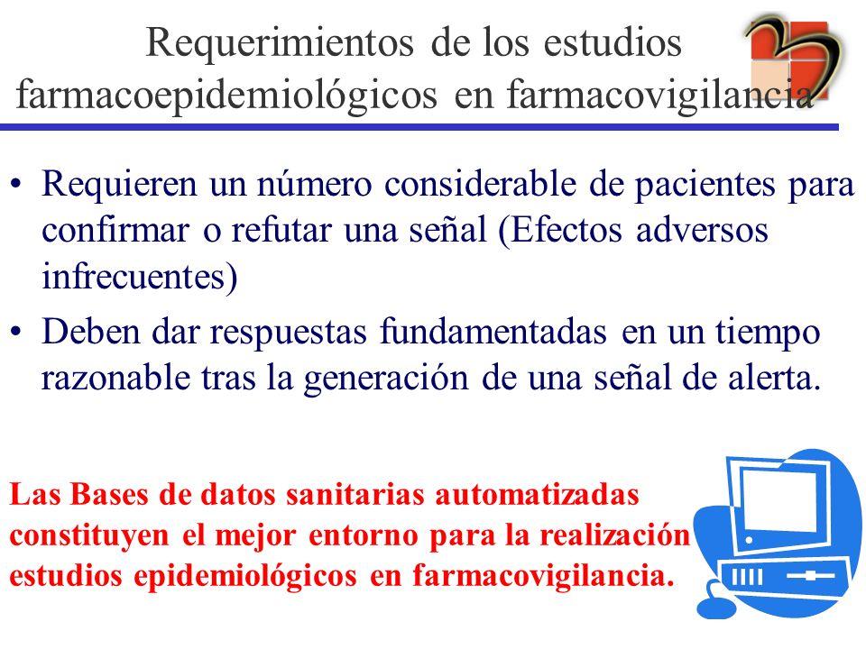 Requerimientos de los estudios farmacoepidemiológicos en farmacovigilancia Requieren un número considerable de pacientes para confirmar o refutar una