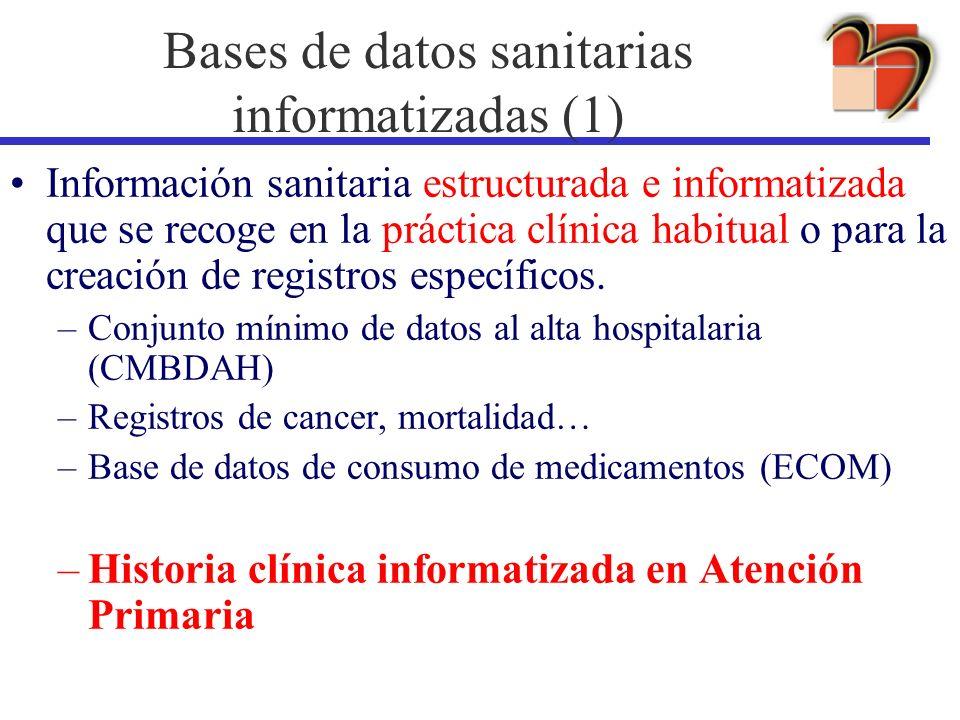 Información sanitaria estructurada e informatizada que se recoge en la práctica clínica habitual o para la creación de registros específicos. –Conjunt
