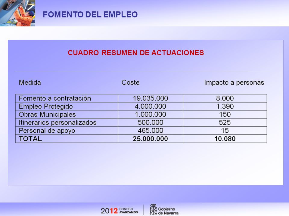 FOMENTO DEL EMPLEO CUADRO RESUMEN DE ACTUACIONES