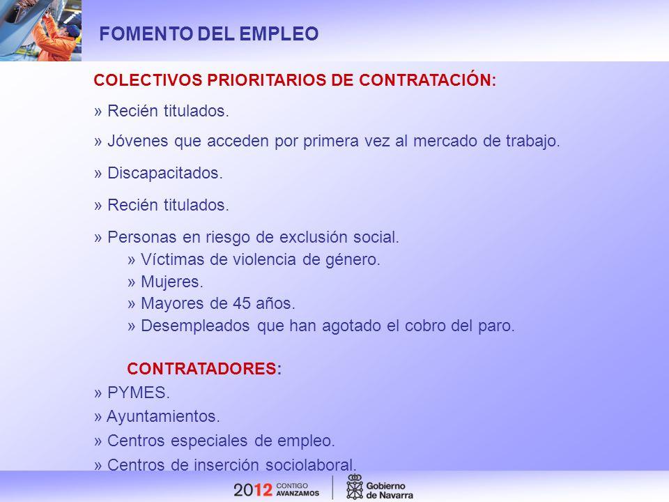 FOMENTO DEL EMPLEO COLECTIVOS PRIORITARIOS DE CONTRATACIÓN: » Recién titulados. » Jóvenes que acceden por primera vez al mercado de trabajo. » Discapa