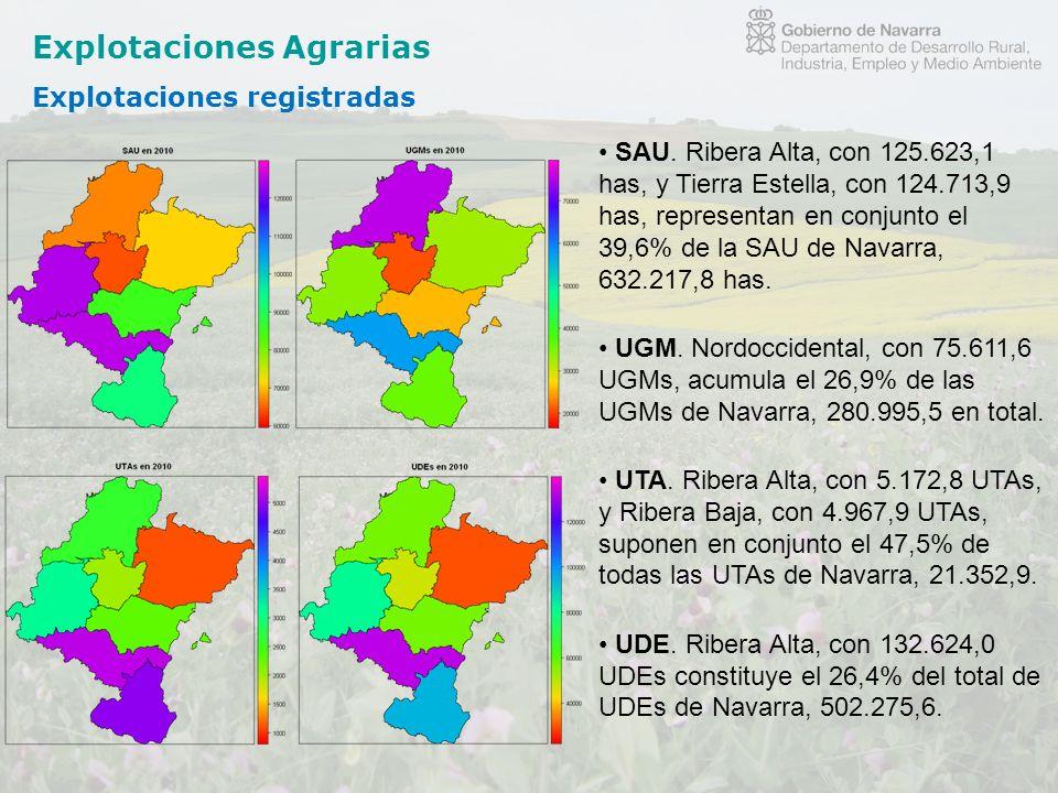 Explotaciones Agrarias Explotaciones registradas SAU. Ribera Alta, con 125.623,1 has, y Tierra Estella, con 124.713,9 has, representan en conjunto el
