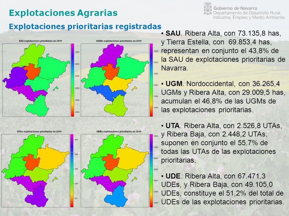 Explotaciones Agrarias Explotaciones prioritarias registradas SAU. Ribera Alta, con 73.135,8 has, y Tierra Estella, con 69.853,4 has, representan en c