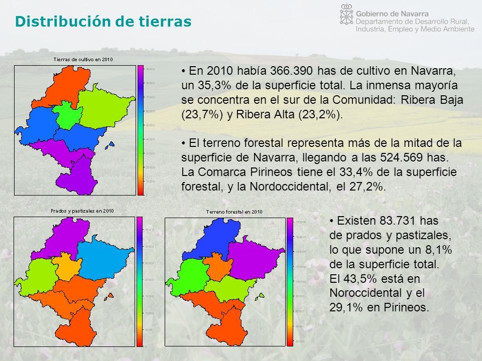Distribución de tierras En 2010 había 366.390 has de cultivo en Navarra, un 35,3% de la superficie total. La inmensa mayoría se concentra en el sur de
