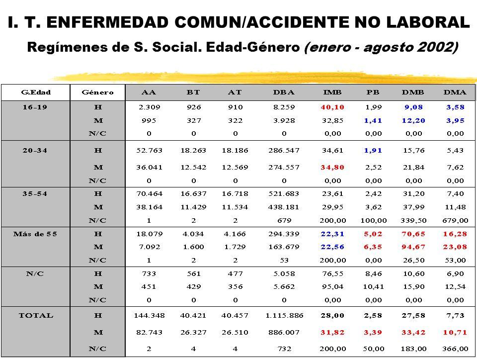 I. T. ENFERMEDAD COMUN/ACCIDENTE NO LABORAL Regímenes de S. Social. Edad-Género (enero - agosto 2002)