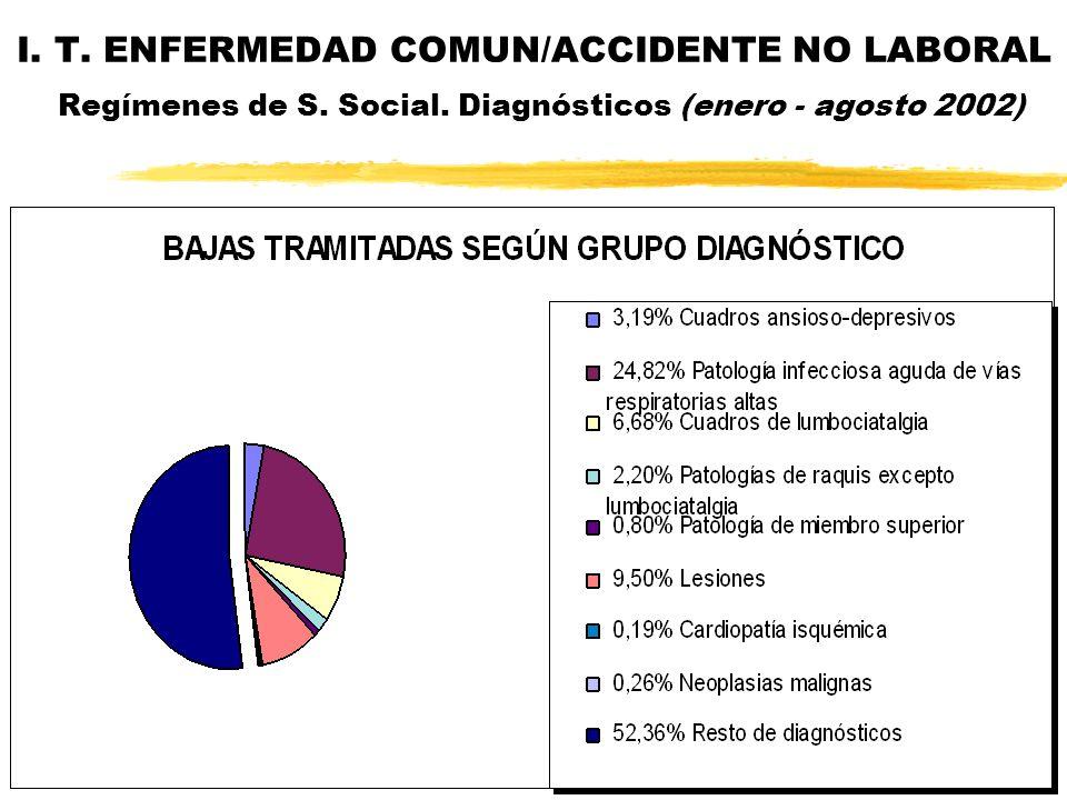 I. T. ENFERMEDAD COMUN/ACCIDENTE NO LABORAL Regímenes de S. Social. Diagnósticos (enero - agosto 2002)