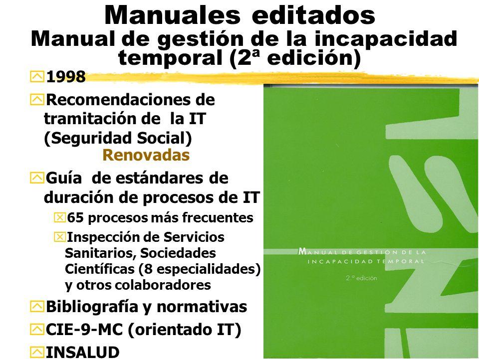 Manuales editados Manual de gestión de la incapacidad temporal (2ª edición) y1998 yRecomendaciones de tramitación de la IT (Seguridad Social) Renovadas yGuía de estándares de duración de procesos de IT x65 procesos más frecuentes xInspección de Servicios Sanitarios, Sociedades Científicas (8 especialidades) y otros colaboradores yBibliografía y normativas yCIE-9-MC (orientado IT) yINSALUD