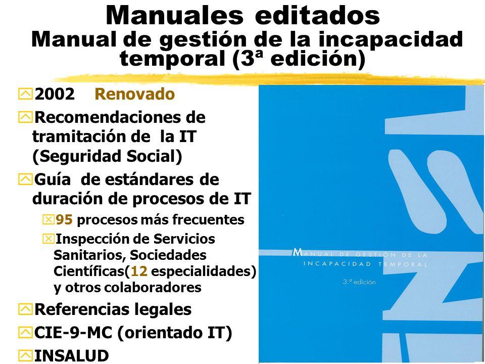 Manuales editados Manual de gestión de la incapacidad temporal (3ª edición) y2002 Renovado yRecomendaciones de tramitación de la IT (Seguridad Social) yGuía de estándares de duración de procesos de IT x95 procesos más frecuentes xInspección de Servicios Sanitarios, Sociedades Científicas(12 especialidades) y otros colaboradores yReferencias legales yCIE-9-MC (orientado IT) yINSALUD
