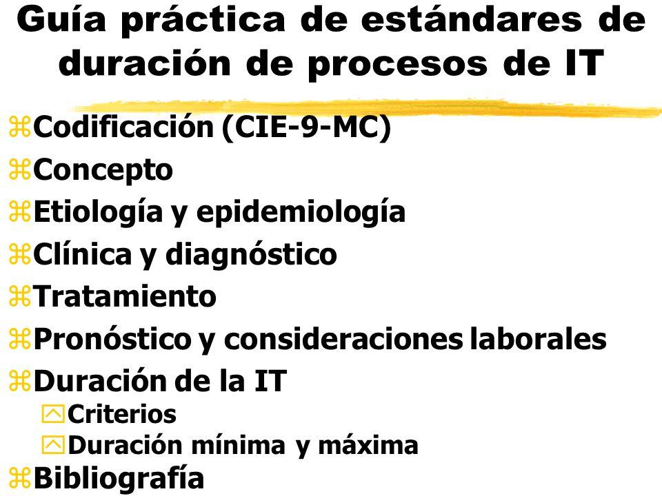 Guía práctica de estándares de duración de procesos de IT zCodificación (CIE-9-MC) zConcepto zEtiología y epidemiología zClínica y diagnóstico zTratamiento zPronóstico y consideraciones laborales zDuración de la IT yCriterios yDuración mínima y máxima zBibliografía