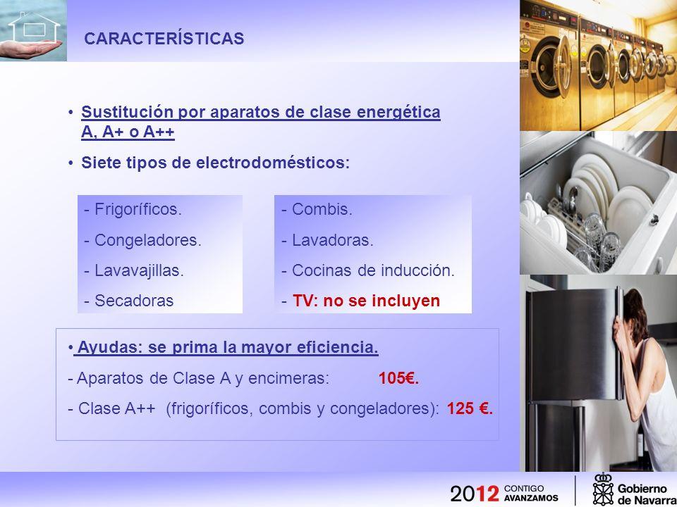 Sustitución por aparatos de clase energética A, A+ o A++ Siete tipos de electrodomésticos: - Frigoríficos.