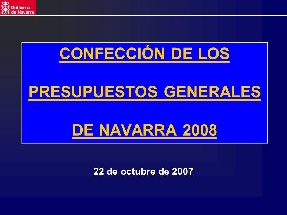 CONFECCIÓN DE LOS PRESUPUESTOS GENERALES DE NAVARRA 2008 22 de octubre de 2007