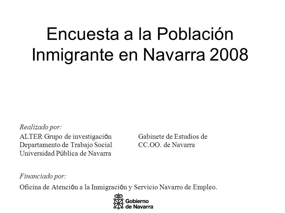 Encuesta a la Población Inmigrante en Navarra 2008 Realizado por: ALTER Grupo de investigaci ó nGabinete de Estudios de Departamento de Trabajo SocialCC.OO.
