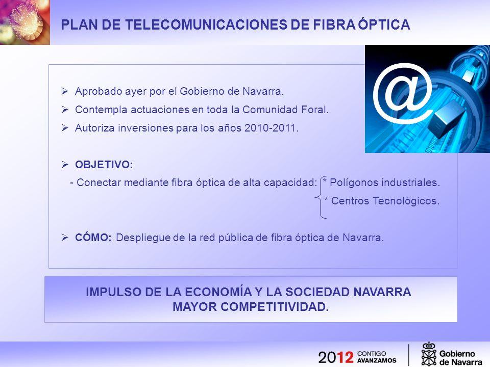 IMPULSO DE LA ECONOMÍA Y LA SOCIEDAD NAVARRA MAYOR COMPETITIVIDAD. PLAN DE TELECOMUNICACIONES DE FIBRA ÓPTICA Aprobado ayer por el Gobierno de Navarra